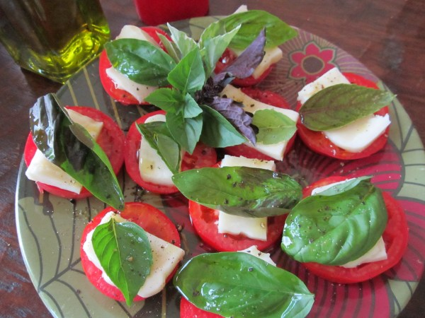 Home grown tomatoes, fresh basil, olive oil and mozzarella cheese.