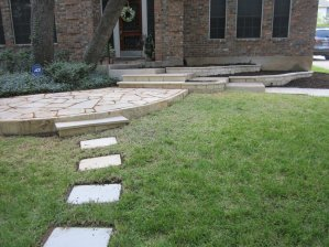 Stone patio, sidewalk and raised beds