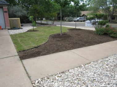 After, this space has been designated for seating and utility, the lawn g=is greatly reduced and the small bed will be filled with native Xeriscape plants.