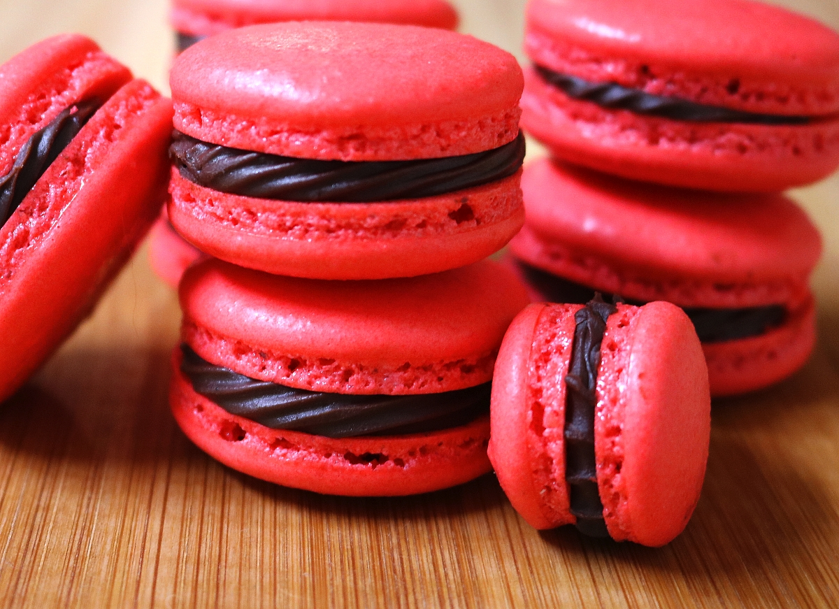 French Macaron Baking Adventures, Part 16: Chocolate & Raspberry Macarons