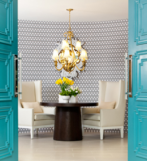 Teal Doors and Modern Wallpaper - LisaMcDennon.com