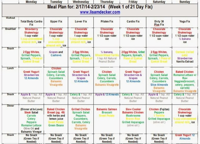21 Day Fix meal plan, clean eating meal plan