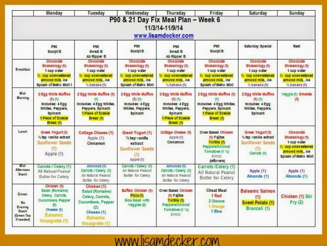 P90 Workout, 21 Day Fix Meal Plan, Meal Planning