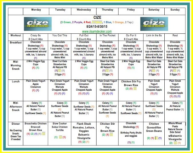 CIZE, Cize Results, Cize Meal Plan, 21 Day Fix, 21 Day Fix Extreme, Meal Planning, Energize, Shakeology, PiYo, Weightloss Support, Successfully Fit, Lisa Decker, Cize Workout Calendar