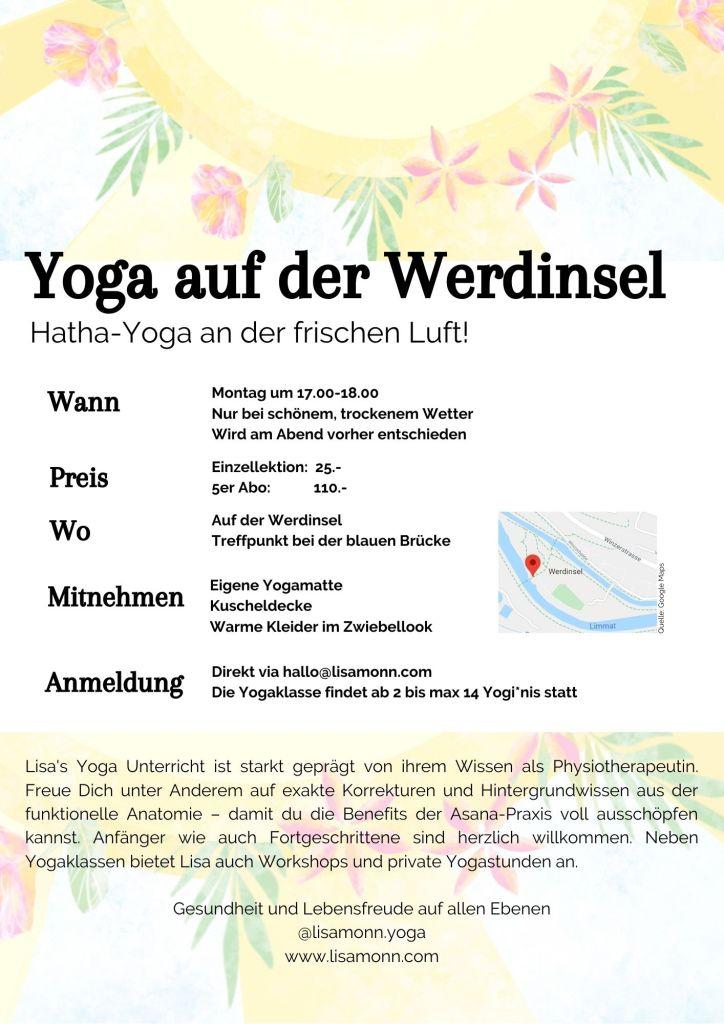 Yoga Werdinsel Zürich draussen outdoor