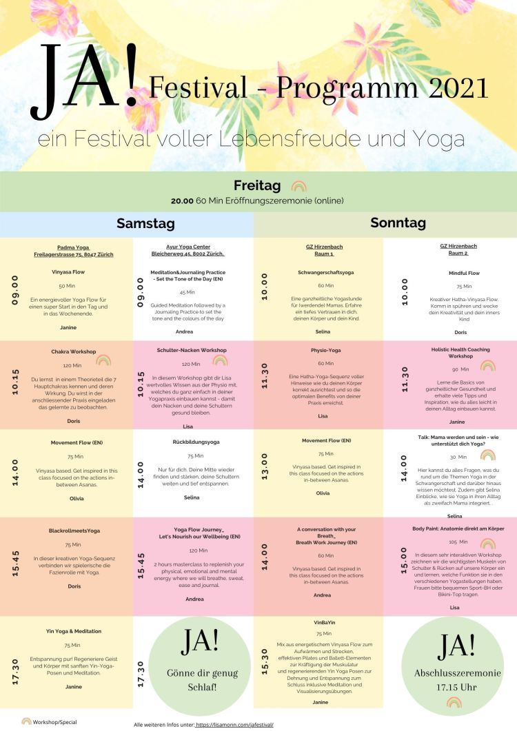 JA! Yoga Festival 2021 Programm