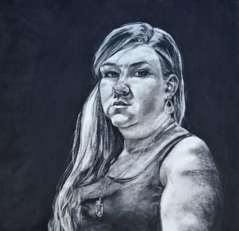 Self Portrait 1, Charcoal, 3x3ft, $1500
