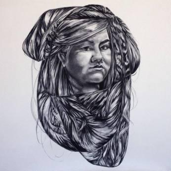 Self Portrait 2, Charcoal, 3x3ft, $1500