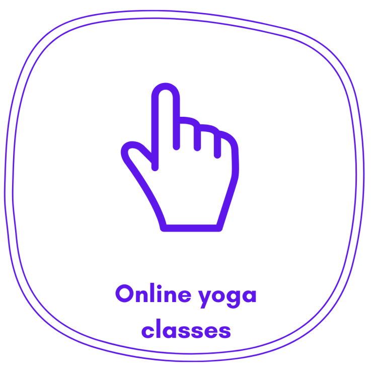 Cursor icon with text that says Online yoga classes