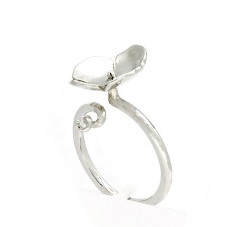 Eco recycled silver flower ring