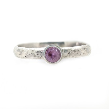 Alternative Engagement Ring - Lichen textured Pink Spinel Front View | Lisa Rothwell-Young