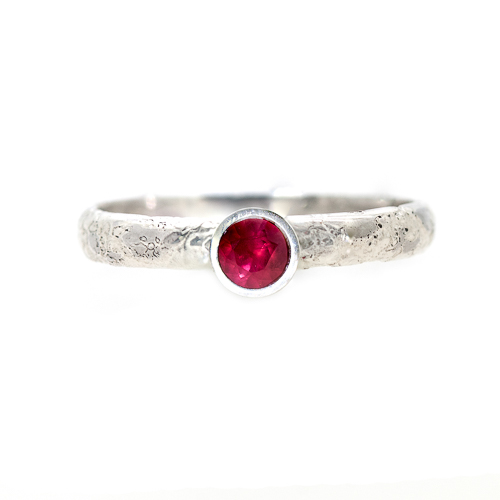 Alternative Engagement Ring - Platinum Ruby Lichen Texture | Lisa Rothwell-Young