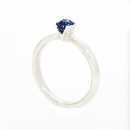 Ethical Engagement Ring - Platinum Sapphire Side View 2 | Lisa Rothwell-Young