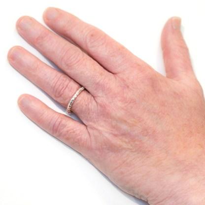 Sustainable Wedding Ring - Lichen Texture gold Platinum Hand
