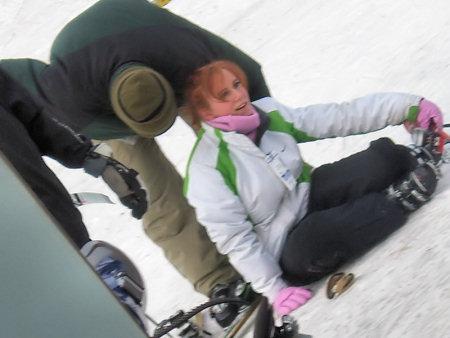 Missy fell skiing