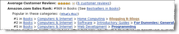 WordPress For Dummies getting GREAT reviews and rankings on Amazon.com!