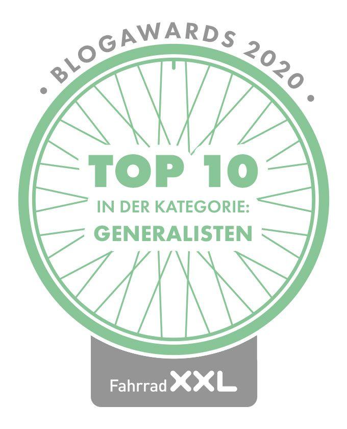 FahrradXXL BlogAwards Top 10 in der Kategorie Generalisten.