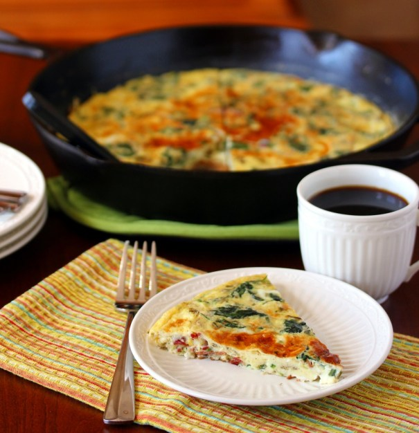 Spinach, Bacon and Gruyere Frittata - Lisa's Dinnertime Dish