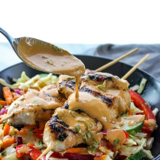 Thai Peanut Chicken Skewers with Crunchy Slaw Salad