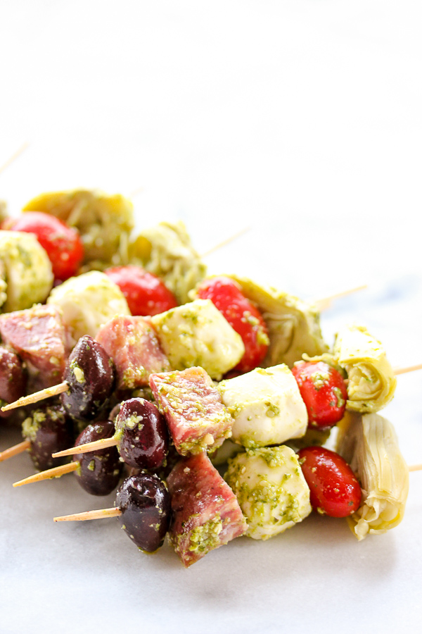 Easy Antipasto Skewers Are A Perfect Party Appetizer That Can Be Made Ahead Of Time And