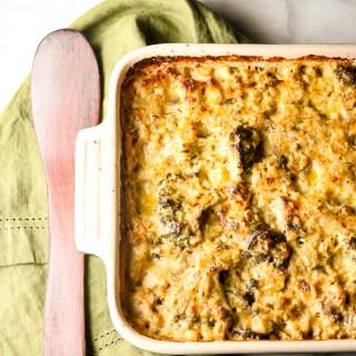 Cheesy Broccoli Chicken Cauliflower Rice Casserole