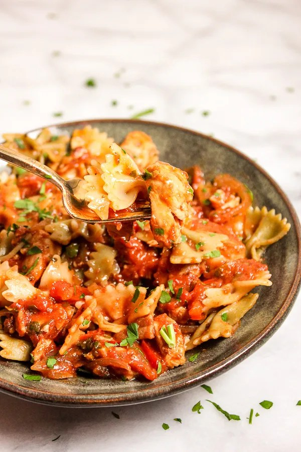 Quick Chicken Cacciatore is a richly flavored pasta dish that's so easy to make. It's family friendly, as well as a great meal for entertaining.