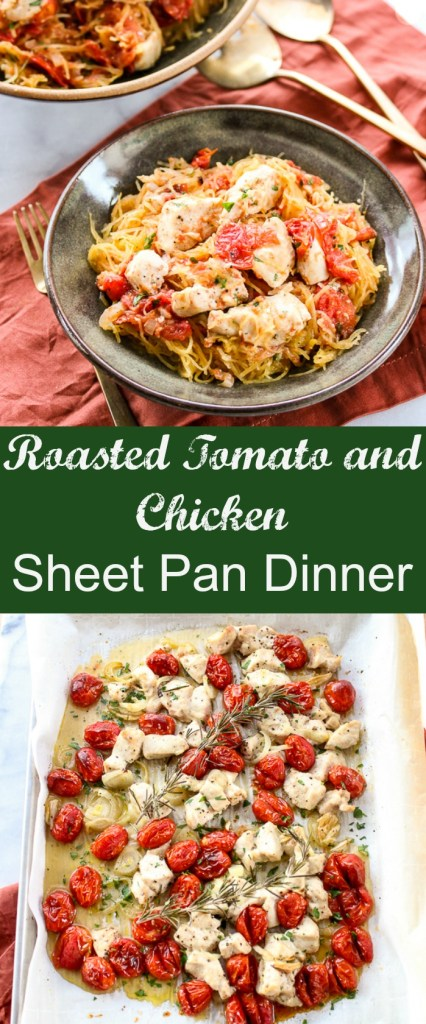 Roasted tomato and chicken sheet pan dinner over spaghetti squash is healthy, naturally gluten free and incredibly flavorful. Plus, it's so easy to prepare.