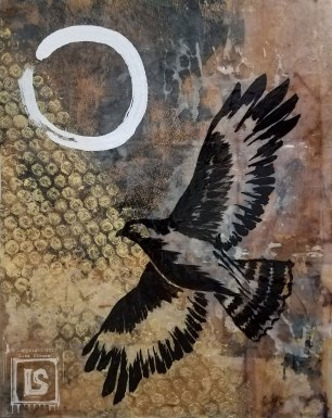 Hawk Enso: 11 x 14 wood panel