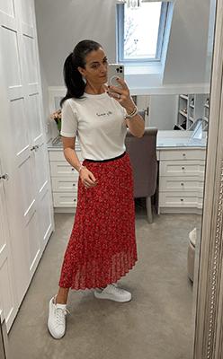 Pamela-Scott---Pre-Order-All-over-pleate-skirt-in-mille-fleur-design-in-red-coral