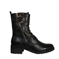 Murphys---Regarde-Le-Ciel---Emily-14-Black-Leather-Biker-Boots-with-a-Gold-Zip-and-Buckle