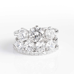 Desert-Diamonds---3-Stone-and-4-Stone-Brilliant-cut-in-prong-set-Ring-with-small-Band