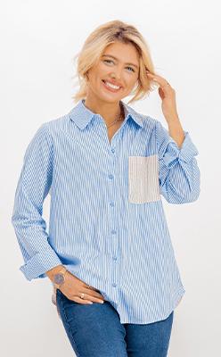 BORN---Kleo-Blue-Striped-Contrast-Shirt