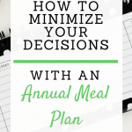 An annual meal plan helps streamline your life so you have more time to grow your business or blog. Here's how it works. #annualmealplan #minimizeyourdecisions #momboss