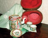 The rose medallion Canton tea set traveled in its own padded basket, and travel it did — a lifetime being shipped from military post to military post, coming to rest at last at the Kilbourne home in Lexington, Va.