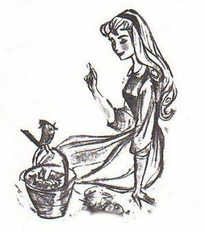 Tom Oreb's early drawings of Sleeping Beauty, influenced by Audrey Hepburn