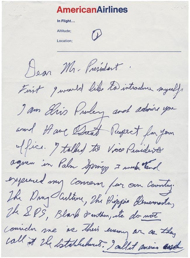 December 21, 1970 letter from Elvis to President Nixon