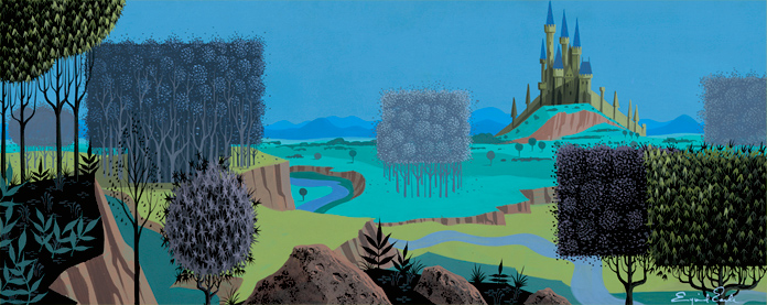 """The iconic castle from """"Sleeping Beauty,"""" by artist Eyvind Earle for Disney"""