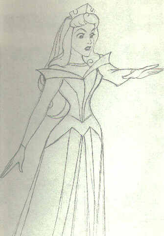 drawing of Sleeping Beauty by Marc Davis, redesigned for use in 1959 film