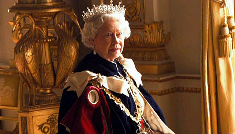 Queen Elizabeth II, photographed by Annie Leibowitz, March 2007. The Queen is not amused after having been asked by Leibowitz to take off her crown, which is actually a tiara.