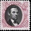 90-cent Lincoln stamp issued in 1869. Image used was provided by photographer Mathew Brady.