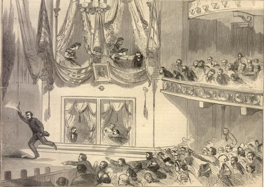 "John Wilkes Booth flees across the stage of Ford's Theater after having assassinated President Lincoln. He shouts ""sic semper tyrannis!"" (thus always to tyrants"" and, perhaps, ""The South is avenged."""