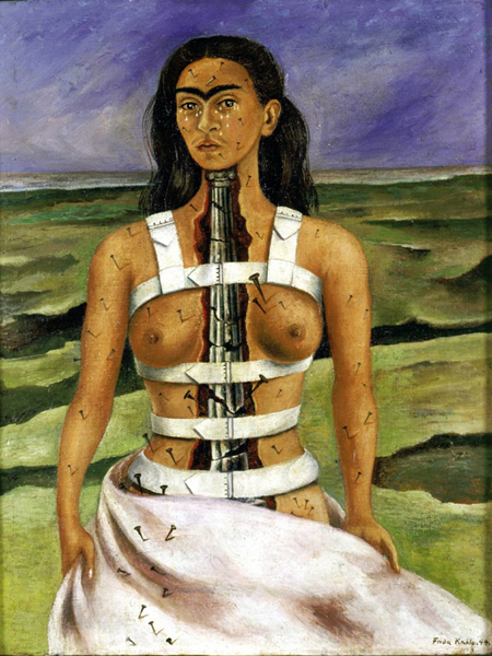 """""""The Broken Column,"""" by Frida Kahlo (1944). This self-portrait shows the artist's spine as a broken Ionic column. Frida's health had deteriorated to the stage that she had to wear a steel corset."""