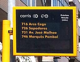 Panneau d'information temps d'attente Carris