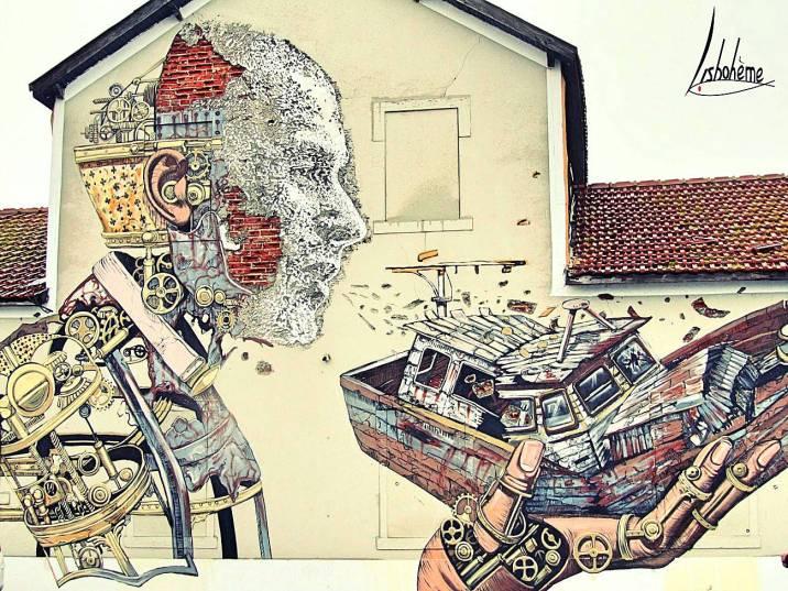 PixelPancho - Vhils. Santa Apolónia. Mars 2014. Détruit en juin 2016
