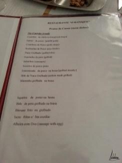 Menu viandes grillées O Batoque Seixal