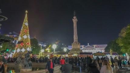 Le Rossio, lumières de Noël de Lisbonne 2018