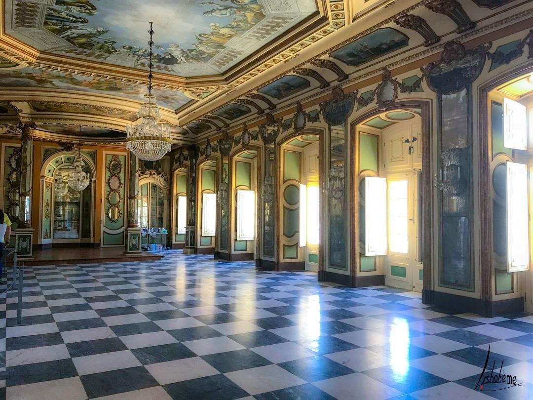 Salle des Ambassadeurs ou des Colonnes, Palais de Queluz à Sintra, près de Lisbonne, Portugal