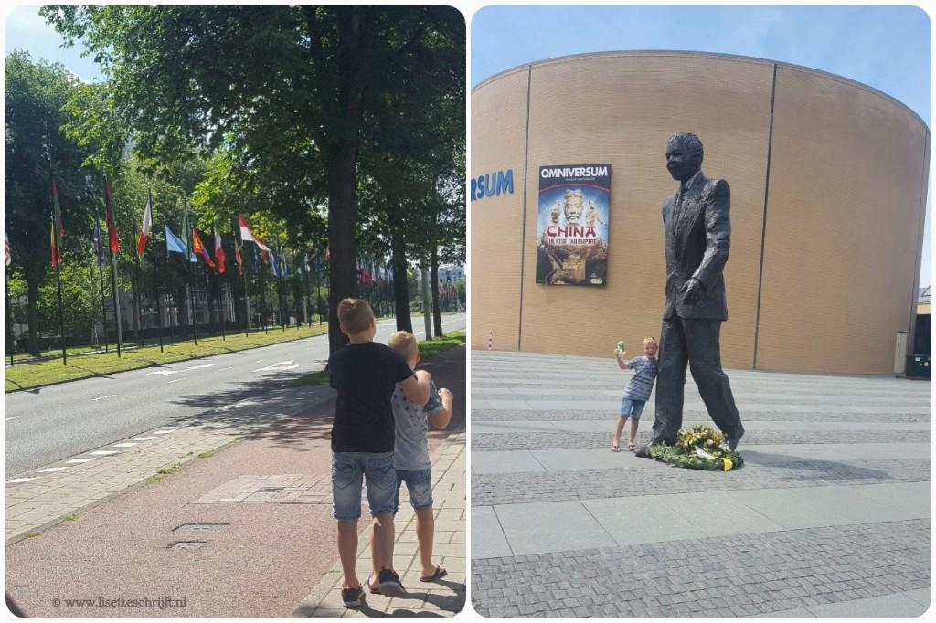 President Kennedylaan den Haag vlaggen VN standbeeld Nelson Mandela Omniversum Den Haag Lisette Schrijft