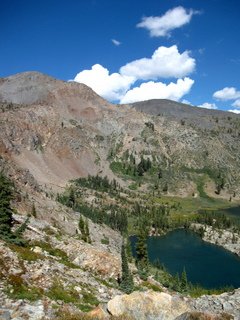 view of half moon lake and dicks peak from jacks peak