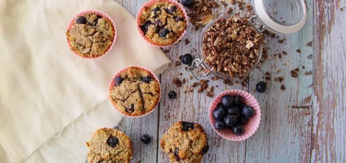 Blauwe bes ontbijt muffins